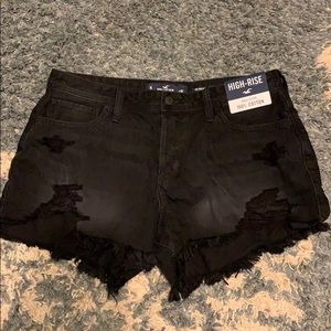 Black ripped Hollister shorts